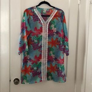 EUC Talbots Tropical 3/4 Sleeve Swim Coverup Small